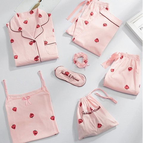 詩佩雅 女士 純棉睡衣 七件套裝 98元包郵(多款可選)
