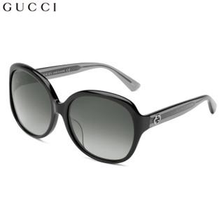 GUCCI 古驰 女款太阳眼镜 渐变灰镜片黑色镜框 GG0080SK 002 61mm
