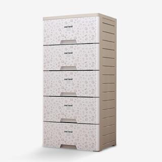 家乐铭品 五层塑料抽屉柜收纳柜收纳箱斗柜整理柜整理箱衣柜 小碎花 食品级PP+ABS材质LY2152