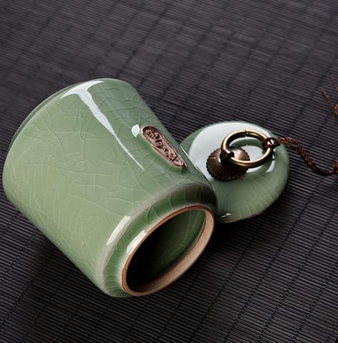 密封紫砂茶叶罐小陶瓷茶叶盒家用储物罐普洱罐存茶罐茶叶包装盒