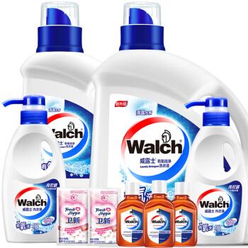 Walch 威露士 有氧洗衣液套装 8.18斤(洗衣液2.25kg+洗衣液1kg+内衣净280g*2+消毒液60ml*3+柔顺剂50ml*2)
