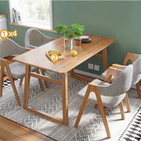 林氏木业北欧原木色实木餐桌椅组合小户型家用饭桌简约家具LS046
