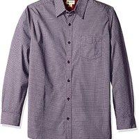 Haggar 男式长袖棉质印花梭织衬衫