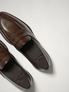 Massimo Dutti 男士真皮宽绊带乐福鞋 17401322709-23