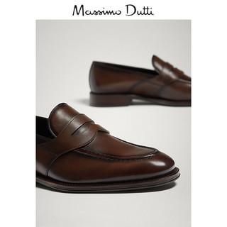 Massimo Dutti 17401322709-23 男士真皮宽绊带乐福鞋 38