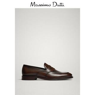 Massimo Dutti 17401322709-23 男士真皮宽绊带乐福鞋 45