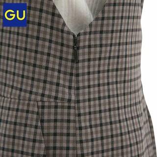 GU 极优 310657 女士格子连衣裙 驼色 XL