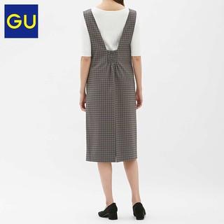 GU 极优 310657 女士格子连衣裙 驼色 M