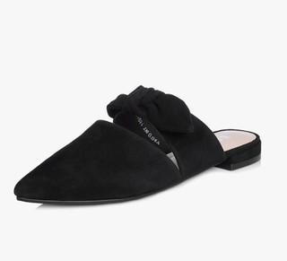 BASTO 百思图 RIO01AT8 女士羊绒皮蝴蝶结尖头方跟拖鞋