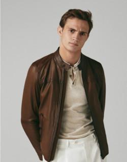 Massimo Dutti 03301101700-23 男士羊皮革夹克
