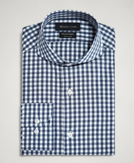 Massimo Dutti 00153133400-23 男士修身格纹衬衫