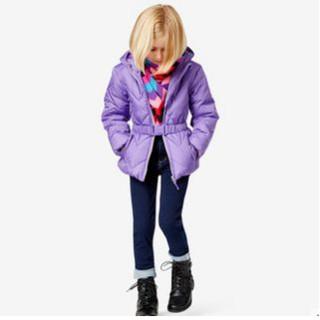Macy's 女童冬中长款加厚棉服