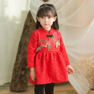可咭 女童中式连衣裙