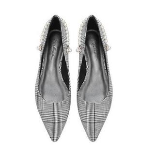 Luiza Barcelos 女士格子布方跟浅口珍珠单鞋