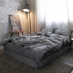 水洗棉四件套无印全棉纯色混搭北欧天竺棉简约床笠床单款纯棉被套 深灰色 1.5m床