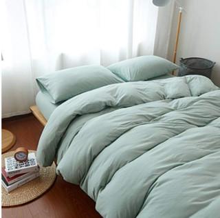 J.H.Longess 活性喷气原棉针织天竺棉纯棉四件套 床笠款 1.8米床
