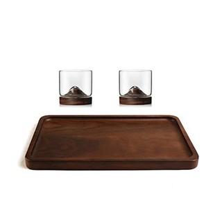 CIDICOCK 黑胡桃木托盘玻璃小山杯套装(一盘两杯)