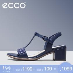 ECCO爱步夏季新款休闲舒适方跟中跟女鞋 型塑35方跟凉鞋250813