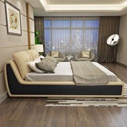 A家 床 真皮床双人床皮现代简约头层牛皮1.5米1.8米软靠皮床 馨米黄 1.8*2.0米