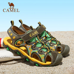 CAMEL骆驼户外儿童款沙滩鞋 2015青少年防撞防滑魔术贴沙滩凉鞋
