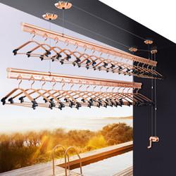 晾王晾衣架 升降手摇双杆式加厚晾衣杆室内阳台晾衣架晒衣架 土豪金 2.4米两杆