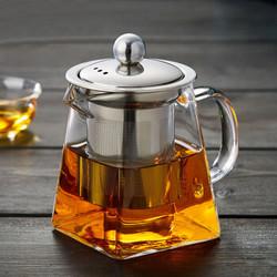 玻璃茶壶高硼硅公道壶不锈钢泡茶壶带滤网耐热玻璃壶四方小茶壶