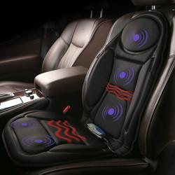 COMFIER冬季汽车坐垫 电动加热按摩多功能座椅垫 车载家用 黑色平板布-腰部座部加热按摩