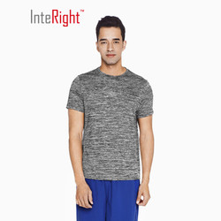 INTERIGHT夏季T恤男 跑步训练 运动短袖 阳离子T恤 麻灰 XL