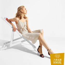 WHAT FOR2018夏季新款羊皮珍珠一字扣带女鞋露趾高跟鞋时尚凉鞋