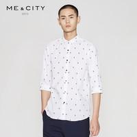ME&CITY 524170 男士纯棉立领休闲七分袖衬衫 (黑色、170/92A)