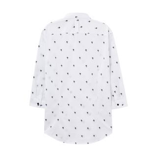 ME&CITY 524170 男士纯棉立领休闲七分袖衬衫 (白色、185/104B)