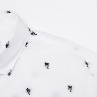 ME&CITY 524170 男士纯棉立领休闲七分袖衬衫 (白色、180/100A)