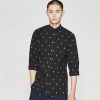 ME&CITY 524170 男士纯棉立领休闲七分袖衬衫 (黑色、165/88A)