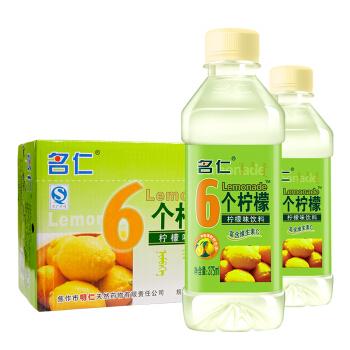mingren 名仁 6个柠檬 柠檬味饮料 375ml*24瓶 整箱装