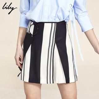 Lily 117210C6107 女士条纹A字裙 S