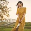 茵曼棉素系列2018夏装新款系带短袖大A摆优雅气质连衣裙女中长裙 109元包邮