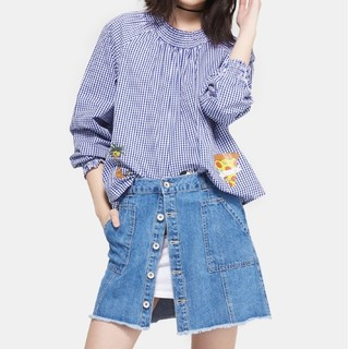 E&joy 17081402841 女士格纹娃娃衫
