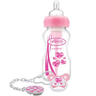 布朗博士(DrBrown's) 婴儿奶瓶宽口径pp成长套装270ml奶瓶&安抚奶嘴&安抚奶嘴夹粉色