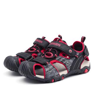 Camkids  86761315 男童框子凉鞋  黑/红/浅灰 34码