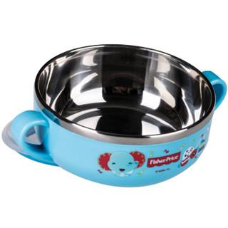费雪fisher-price 儿童餐具 防滑密封隔热双耳碗 宝宝婴幼儿辅食训练碗 带密封盖 8017B天空蓝