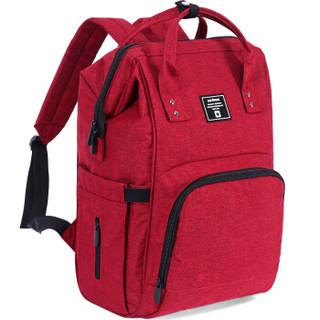aardman妈咪包多功能大容量妈咪包双肩外出背包时尚妈妈包HY-1706酒红色