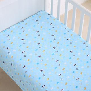 象宝宝(elepbaby)婴儿全棉床单 幼儿园儿童床婴儿床床单140*90cm(字母豆丁蓝色)