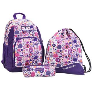 KAMILIANT 卡米龙 SUNNY DAYS系列 BA0*95004 时尚休闲双肩包  紫色印花 27.5*43*23cm