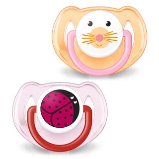 飞利浦新安怡 安抚奶嘴 奶嘴 新生儿 硅胶 6-18个月对装 女宝 卡通动物图案 SCF182/15