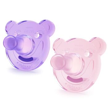 飞利浦新安怡 安抚奶嘴 奶嘴 牙胶 全硅胶 0-3个月 粉色/紫色(2个装)美国进口