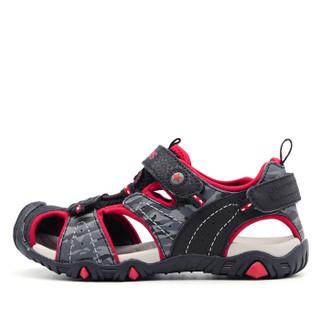 Camkids 86761315 男童框子凉鞋  黑/红/浅灰 36码