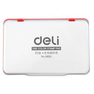 得力(deli)143*87mm金属方形大号财务会计专用秒干印台印泥 红色9893