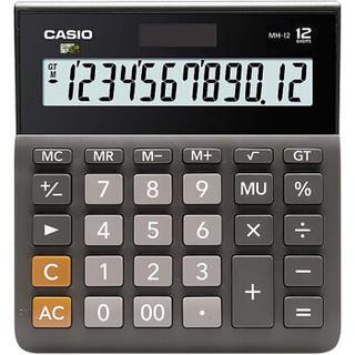 卡西欧(CASIO)MH-12-BK 小型 12位 双电源 超宽计算器 黑色 专业计算系列