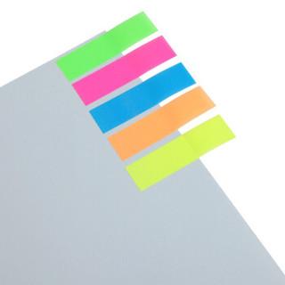 齐心(Comix)20张*5色荧光指示标签/便签条/便利贴/百事贴(44x12mm)办公文具 D6017