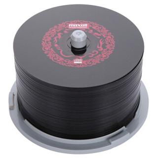 麦克赛尔(maxell)CD-R光盘 刻录光盘 空白光盘 黑胶cd 48速700M 红纹黑尊桶装50片